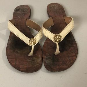 Tory Burch Cream Flip Flop Sandals